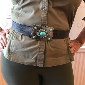 Accessories - Genuine Leather Belt w/ Silver & Turquoise Buckle.